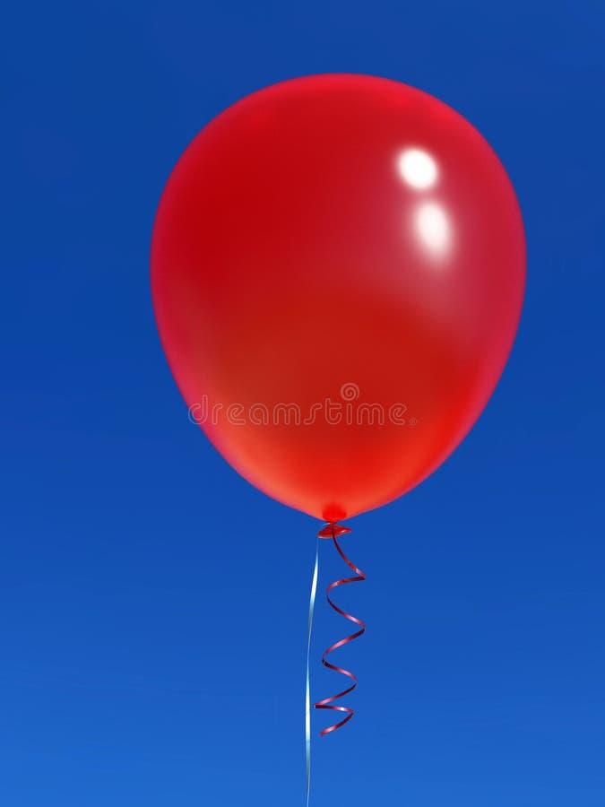 Pojedynczy helu balon z faborkiem na niebieskim niebie royalty ilustracja