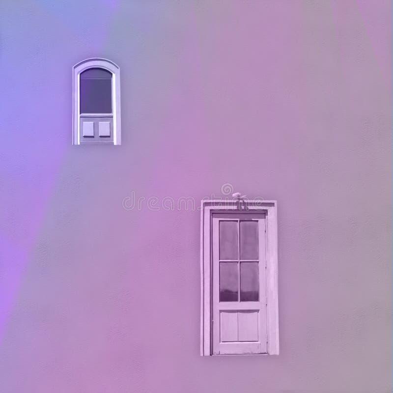Pojedynczy Jaskrawy Żółty Drzwi i Okno zdjęcie royalty free