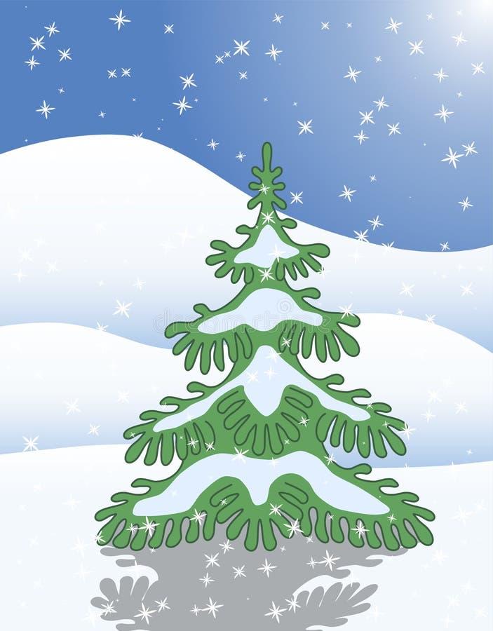Pojedynczy jedlinowy drzewo w zima śniegu ilustracja wektor