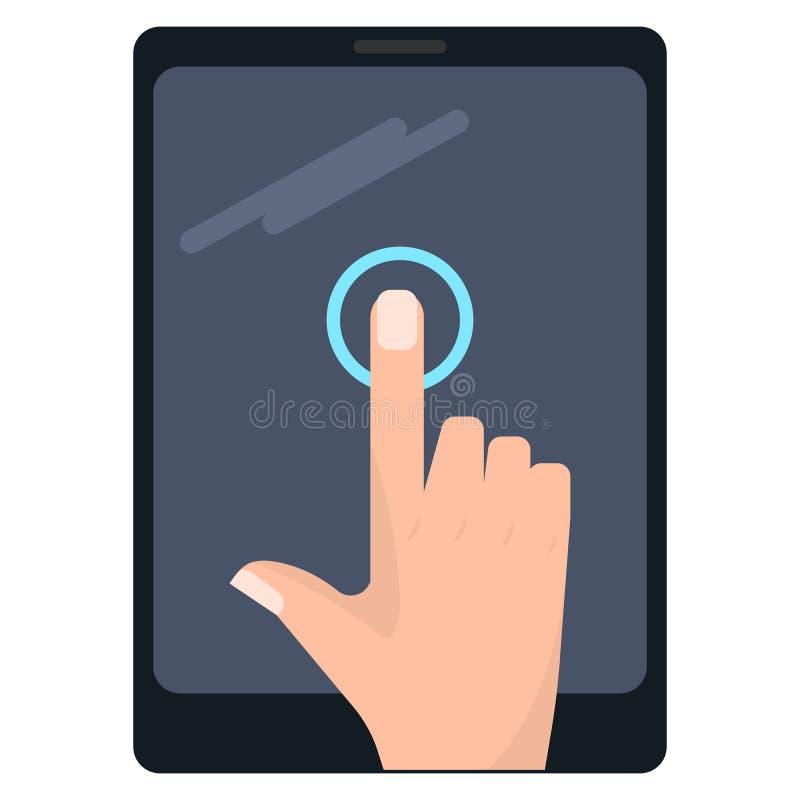 Pojedynczy kranowy dotyka ekranu gest na pastylka wektoru ilustraci ilustracji