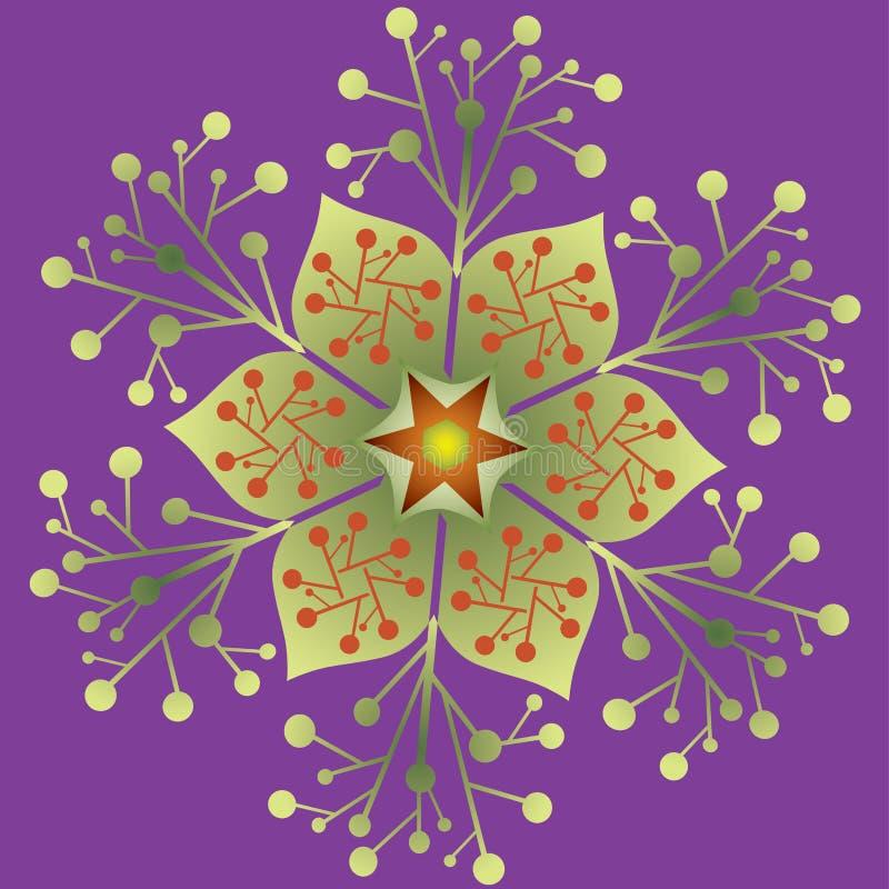 Pojedynczy mandala - Abstrakcjonistycznego ulistnienie Naturalnego projekta Purpurowi Zieleni kolory ilustracji