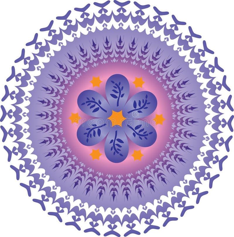 Pojedynczy mandala - Abstrakcjonistycznych ulistnienie gwiazd pomarańcze Purpurowi kolory royalty ilustracja