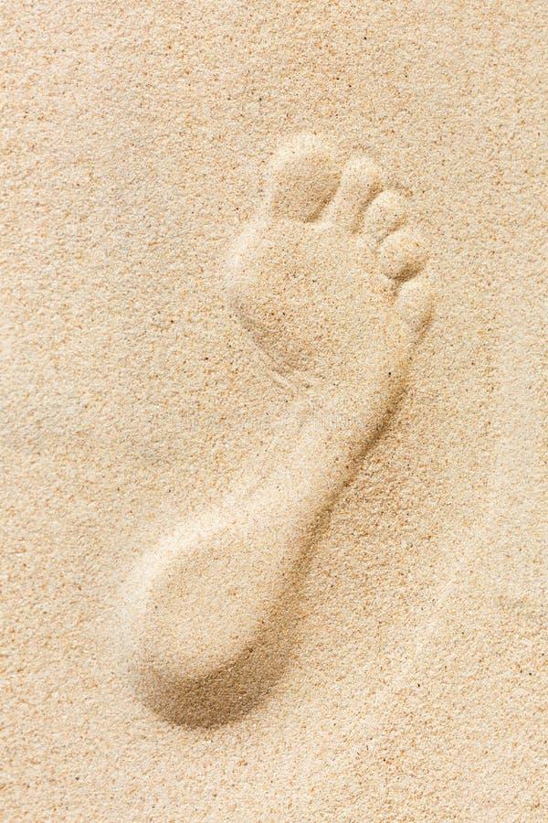 Pojedynczy nożny druk imprinted w piasku na plaży zdjęcie stock
