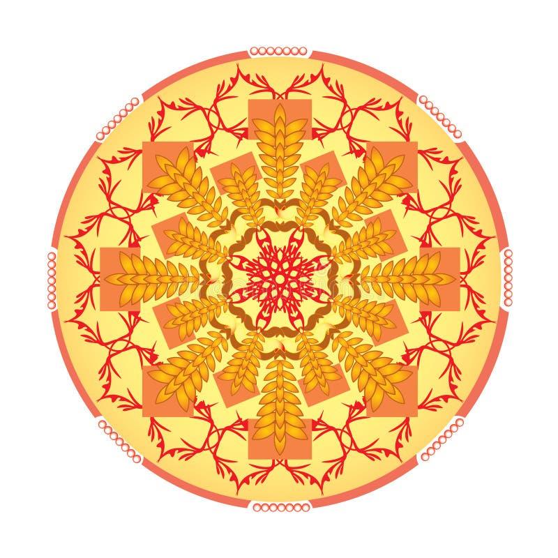 Pojedynczy pomarańczowy mandala ilustracji