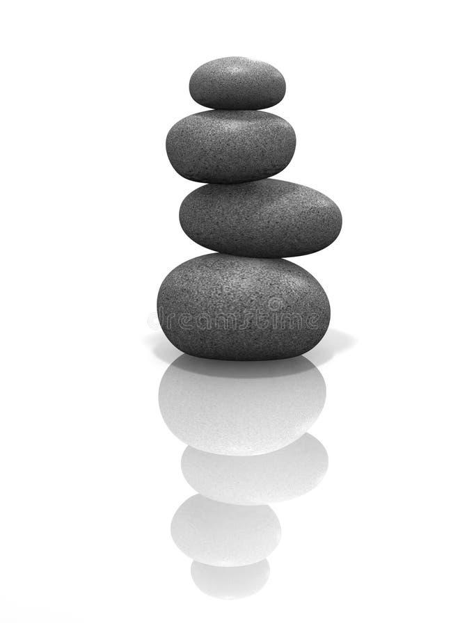 pojedynczy poukładał wyważony kamienia zen. ilustracji