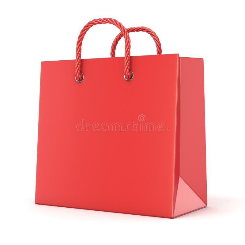 Pojedynczy, pusty, czerwony, pusty torba na zakupy, 3d ilustracji