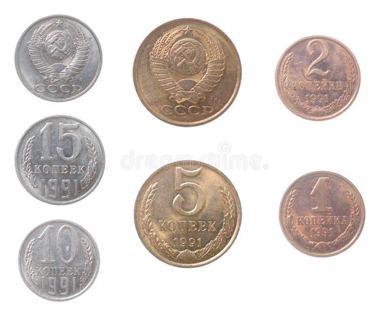 pojedynczy rosyjski monet tło białe obraz royalty free
