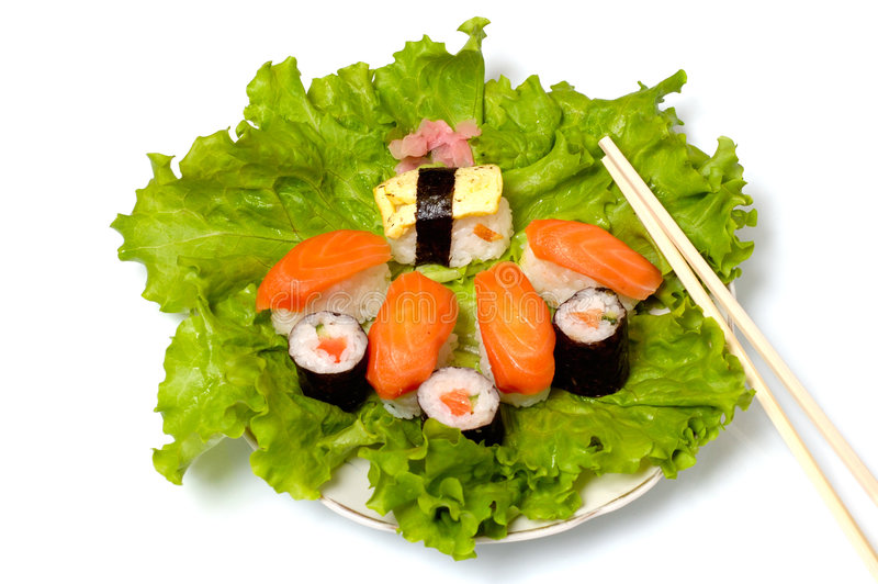 pojedynczy sushi bliżej statków, obraz stock