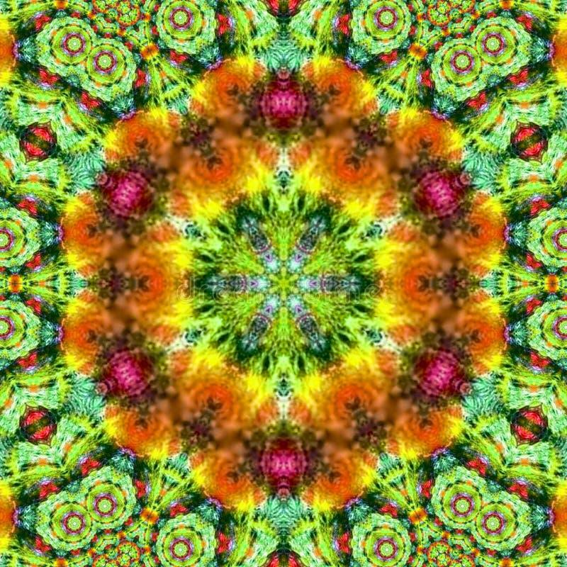 Pojedynczy wianku mandala w tęcza kolorach ilustracji