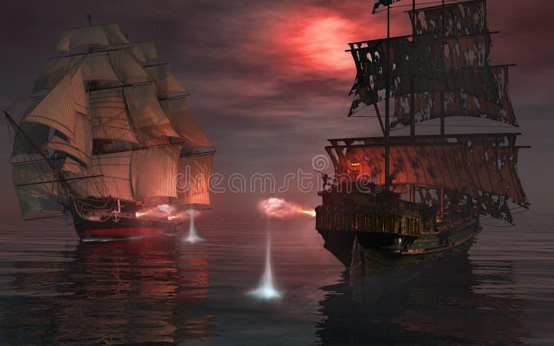 Pojedynek na morzu ilustracja wektor