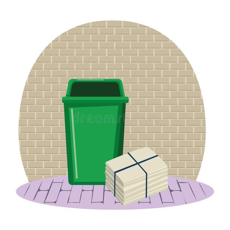 Pojemnik na śmiecie i papier cumujący ilustracja wektor