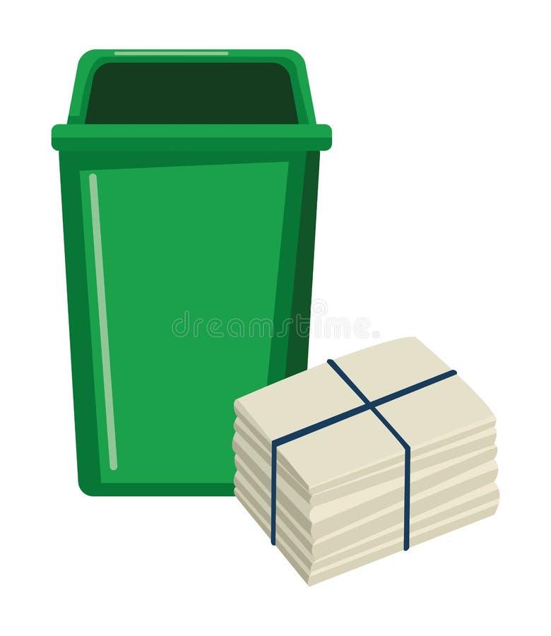 Pojemnik na śmiecie i papier cumujący ilustracji