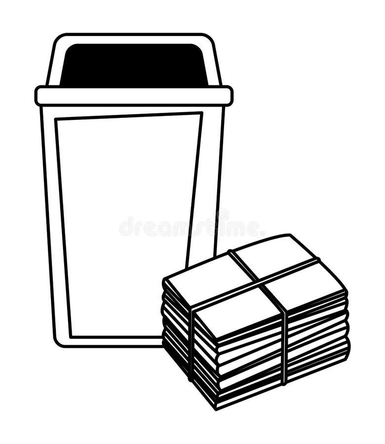Pojemnik na śmiecie i papier cumujący w czarny i biały royalty ilustracja