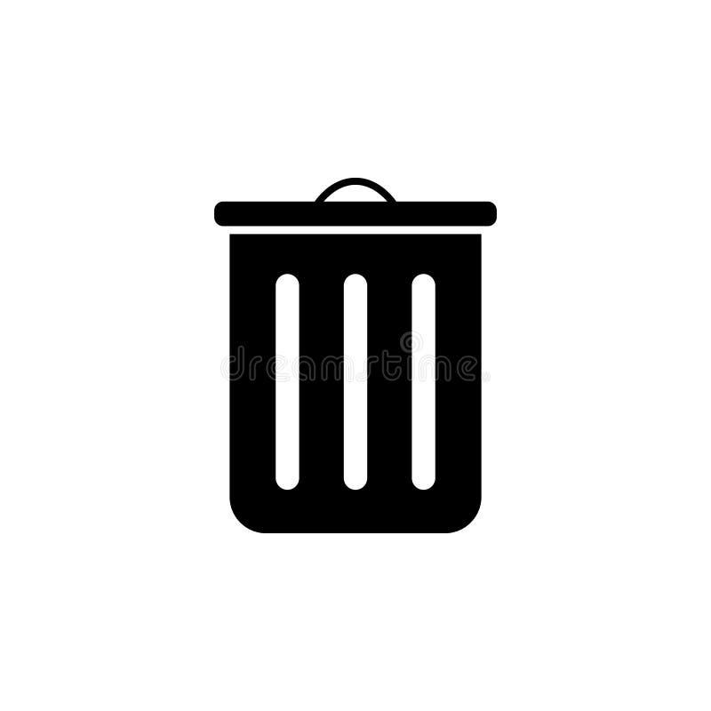 Pojemnik na śmiecie ikona Element prosta ikona dla stron internetowych, sieć projekt, wisząca ozdoba app, ewidencyjne grafika Zna ilustracji