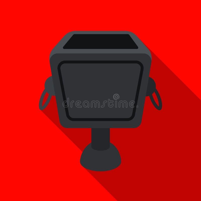 Pojemnik na śmiecie ikona w mieszkanie stylu odizolowywającym na białym tle Parksymbol zapasu wektoru ilustracja ilustracja wektor