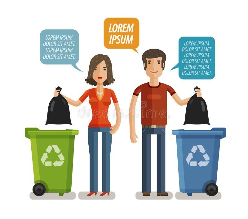 Pojemnik na śmiecie, jałowy kosz, grata zbiornik, śmietnik infographic Utrzymuje czysty lub no śmieci, pojęcie Kreskówka wektor royalty ilustracja