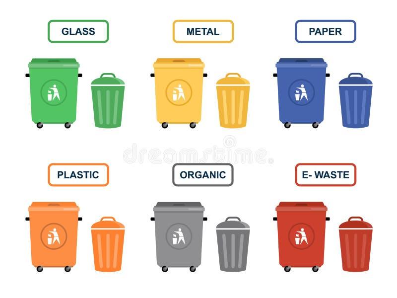 Pojemnik na śmiecie wektorowe płaskie ilustracje ilustracji