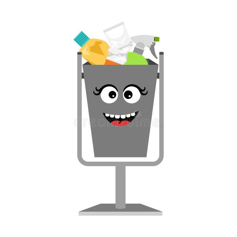 Pojemnik na śmiecie z jałowym gratem royalty ilustracja