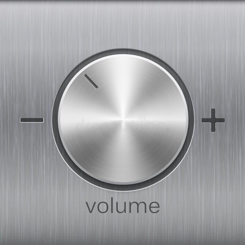 Pojemność dźwięka kontrola z metalu aluminium lub chrom szczotkująca skala z plus minus tekstury i pozioma i royalty ilustracja