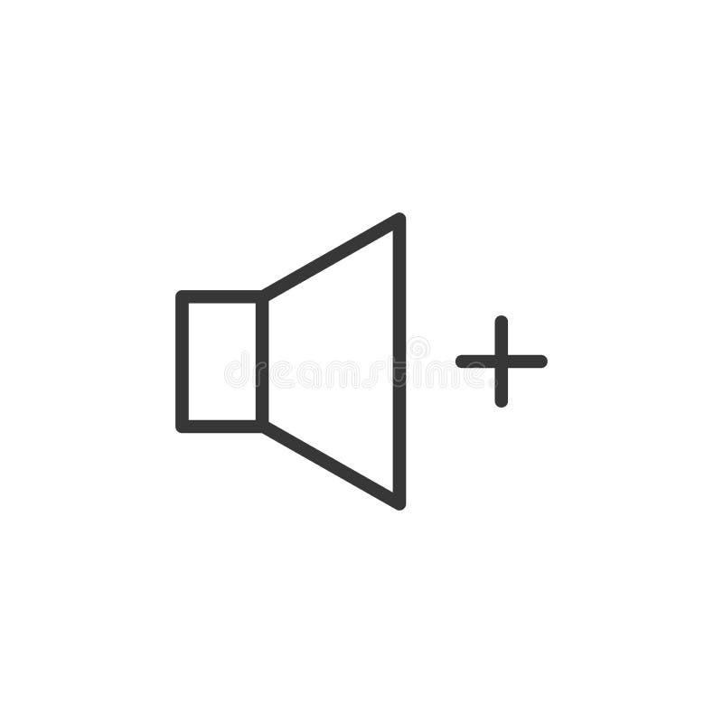 Pojemności przyrostowa ikona Wektoru cienki kreskowy mówca z a plus znak dla wysokiej rozsądnej tomowej kontroli royalty ilustracja