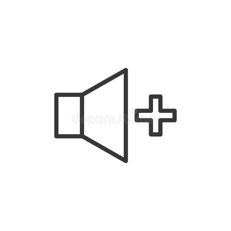 Pojemności przyrostowa ikona Wektoru cienki kreskowy mówca z a plus znak dla wysokiej rozsądnej tomowej kontroli ilustracji