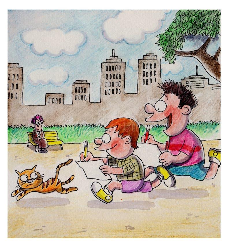 Pojkar är jaga och dra en katt stock illustrationer