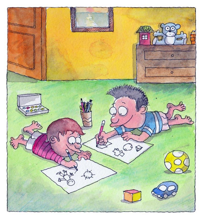 Pojkar är teckningar på golvet royaltyfri illustrationer