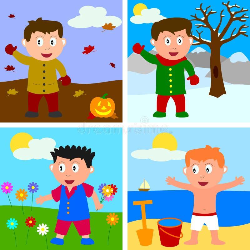 pojkar fyra säsonger vektor illustrationer