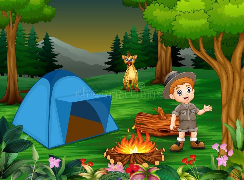 Pojkar i campa dräkt med en hyena i campingplatsen vektor illustrationer