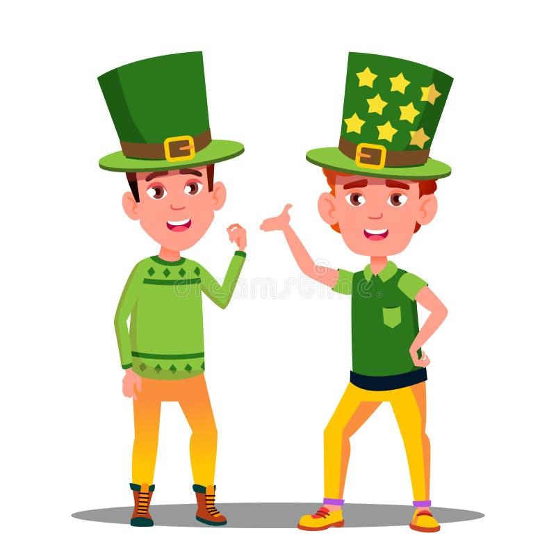 Pojkar i gröna dräkter på St Patrick Day In Ireland Vector isolerad knapphandillustration skjuta s-startkvinnan vektor illustrationer