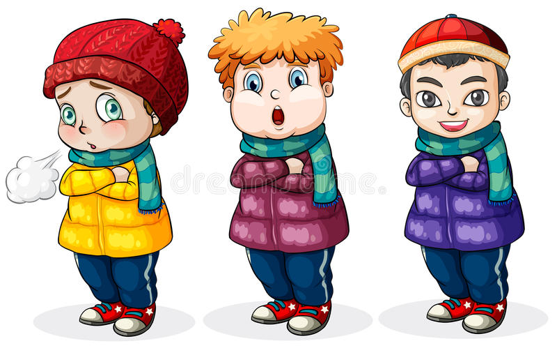 pojkar little tre stock illustrationer