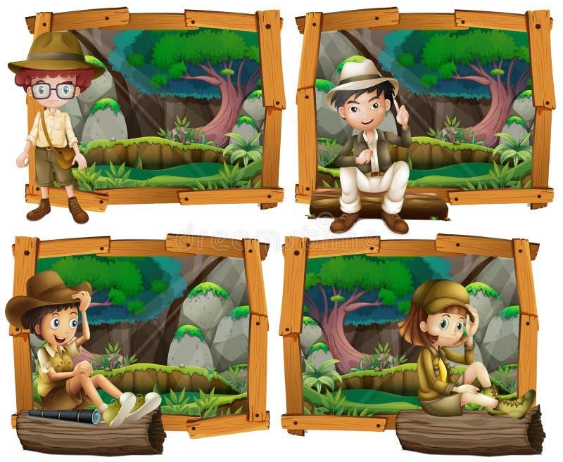 Pojkar och flicka som campar i träna royaltyfri illustrationer