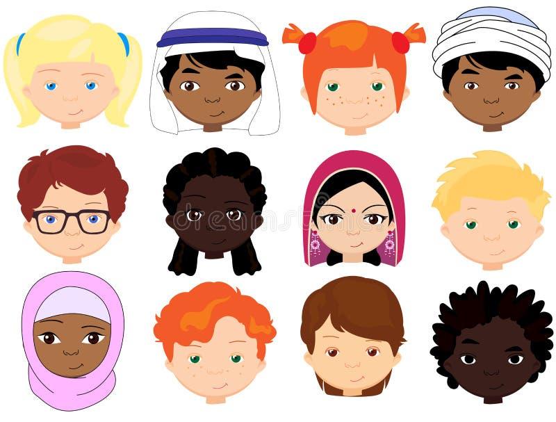 Pojkar och flickor av olika nationaliteter Multinationell childre vektor illustrationer