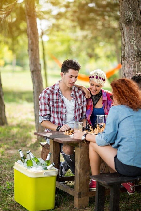 Pojkar och flickor i par spelar kallt öl för schack och för drinkar i natur royaltyfri bild