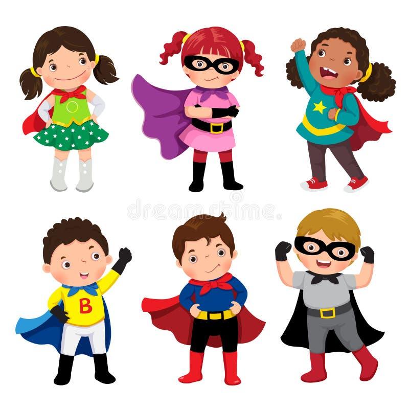 Pojkar och flickor i superherodräkter på vit bakgrund stock illustrationer