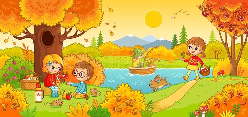 Pojkar och flickor på en picknick stock illustrationer