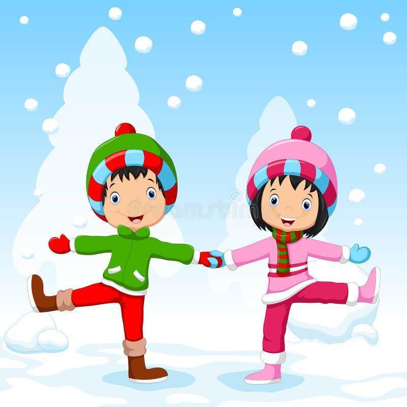 Pojkar och flickor som har gyckel i vinter vektor illustrationer