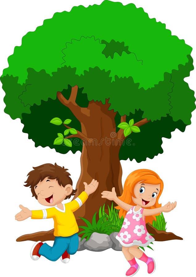 Pojkar och flickor som hoppar för glädje stock illustrationer