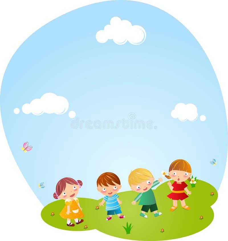 Pojkar och flickor som tillsammans spelar stock illustrationer