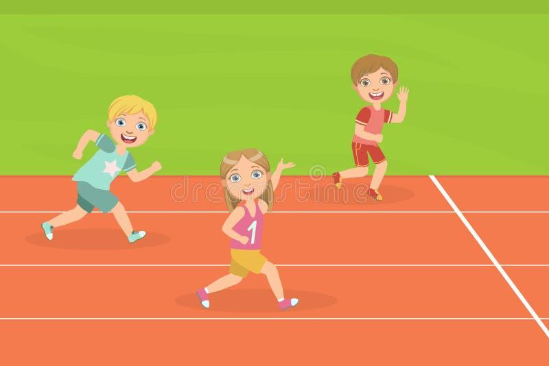 Pojkar och körande loppspår för flicka av stadion på konkurrensvektorillustrationen vektor illustrationer