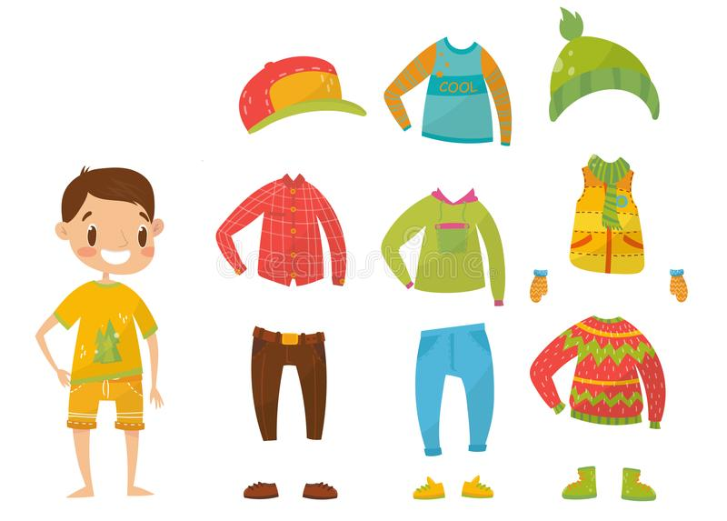 Pojkar som beklär samlingen, uppsättningen av kläder och tillbehörvektorillustrationer stock illustrationer