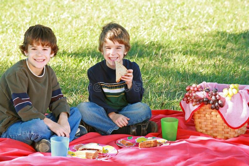 pojkar som har picknicken royaltyfria bilder
