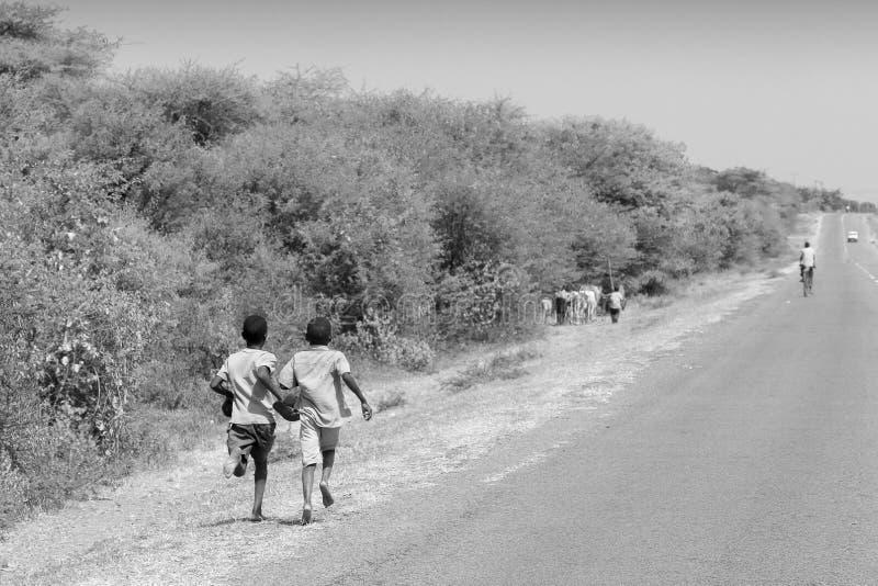 Pojkar som kör längs en väg i Tanzania royaltyfria bilder