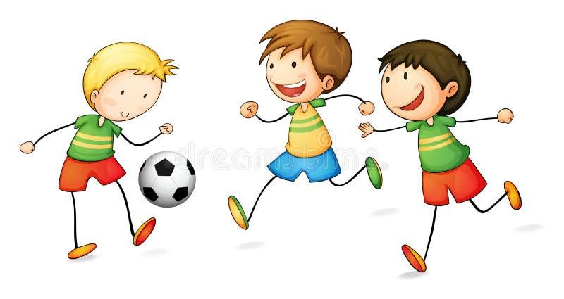 Pojkar som leker fotboll stock illustrationer