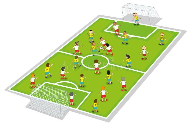 Pojkar som leker fotboll vektor illustrationer
