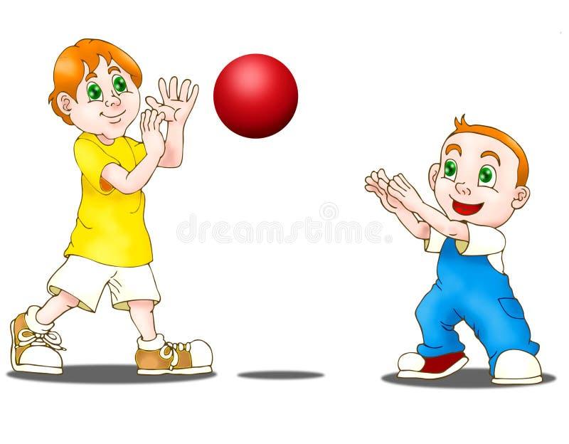 pojkar som leker två stock illustrationer