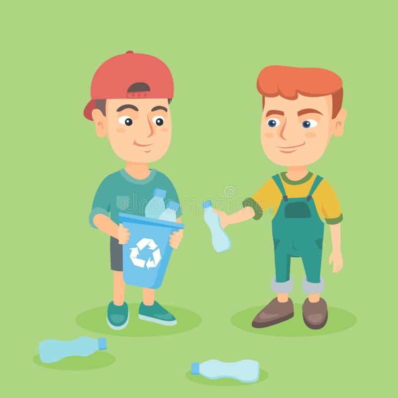 Pojkar som samlar plast-flaskor för återanvändning vektor illustrationer