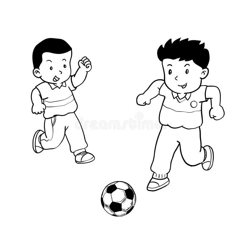 Pojkar som spelar fotboll - vektorillustration vektor illustrationer