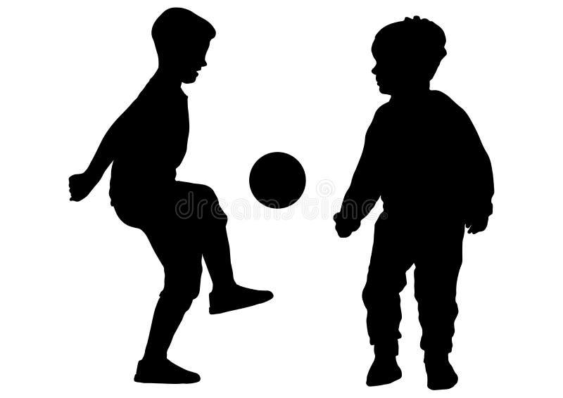 Pojkar spelar i bollfotboll, konturn, vektor stock illustrationer