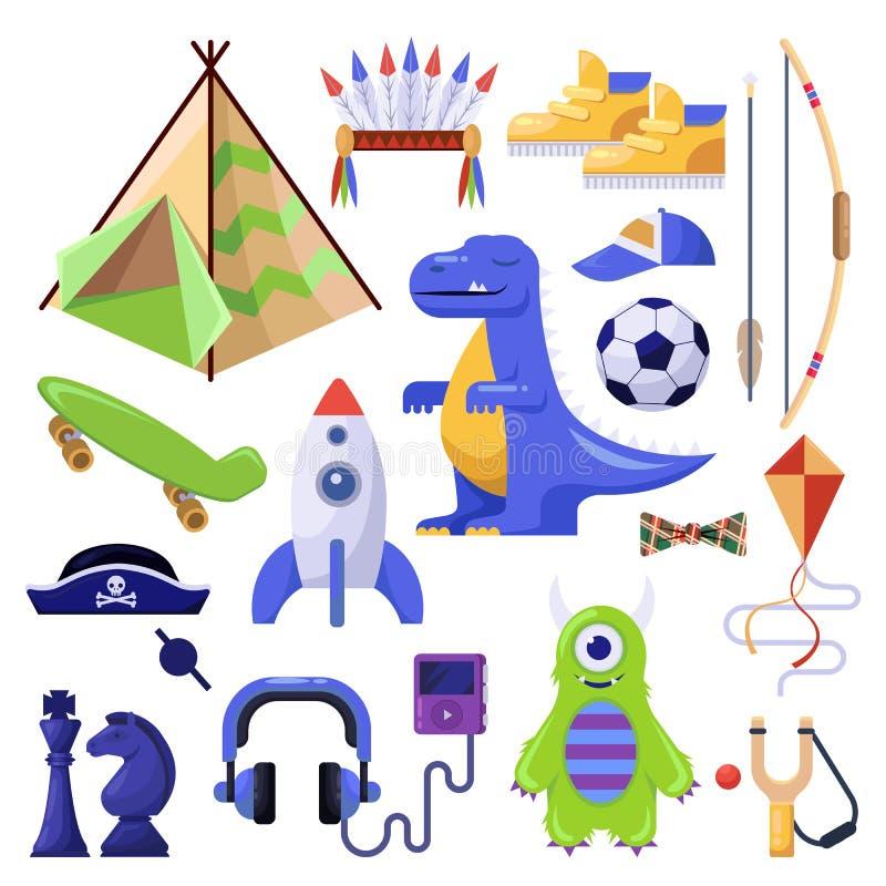 Pojkar stoppar, leksaker och personlig saker Vektor isolerad symbolsuppsättning royaltyfri illustrationer